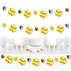 Grand Slam - Fastpitch Softball - Birthday Party or Baby Shower DIY Decorations - Clothespin Garland Banner - 44 Pieces