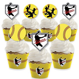 Grand Slam - Fastpitch Softball - Cupcake Decoration - Birthday Party or Baby Shower Cupcake Wrappers and Treat Picks Kit - Set of 24