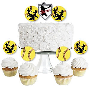 Grand Slam - Fastpitch Softball - Dessert Cupcake Toppers - Birthday Party or Baby Shower Clear Treat Picks - Set of 24