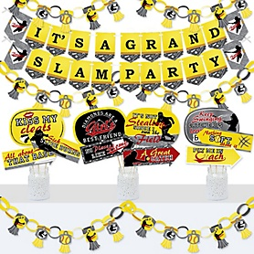 Grand Slam - Fastpitch Softball - Banner and Photo Booth Decorations - Birthday Party or Baby Shower Supplies Kit - Doterrific Bundle