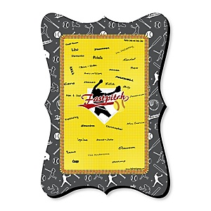 Grand Slam - Fastpitch Softball - Unique Alternative Guest Book - Baby Shower or Birthday Party Signature Mat