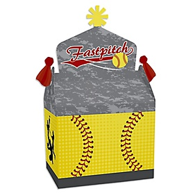 Grand Slam - Fastpitch Softball - Treat Box Party Favors - Birthday Party or Baby Shower Goodie Gable Boxes - Set of 12