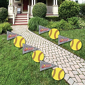 Grand Slam - Fastpitch Softball - Lawn Decorations - Outdoor Baby Shower or Birthday Party Yard Decorations - 10 Piece
