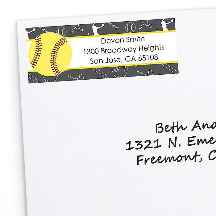 Grand Slam - Fastpitch Softball - Personalized Baby Shower or Birthday Party Return Address Labels - 30 ct