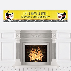 Grand Slam - Fastpitch Softball - Personalized Baby Shower or Birthday Party Banner