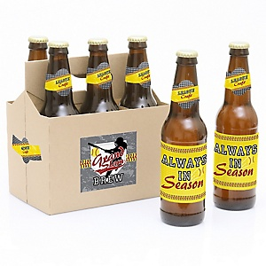 Grand Slam - Fastpitch Softball - Decorations for Women and Men - 6 Summer Softball League Party Soda/Beer Bottle Label Stickers and 1 Carrier