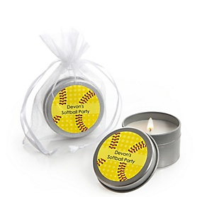 Grand Slam - Fastpitch Softball - Personalized Baby Shower or Birthday Party Candle Tin Favors - Set of 12