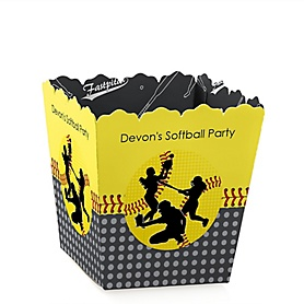 Grand Slam - Fastpitch Softball - Party Mini Favor Boxes - Personalized Baby Shower or Birthday Party Treat Candy Boxes - Set of 12