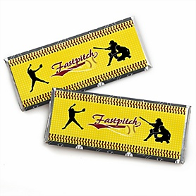 Grand Slam - Fastpitch Softball -  Candy Bar Wrapper Baby Shower or Birthday Party Favors - Set of 24