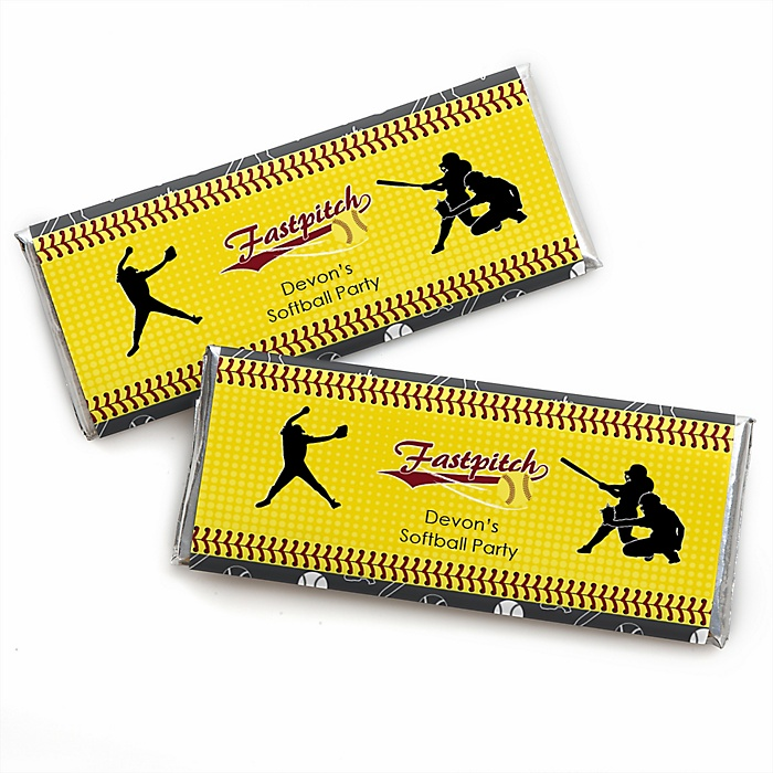 Grand Slam - Fastpitch Softball - Personalized Candy Bar Wrapper Baby Shower or Birthday Party Favors - Set of 24