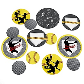 Grand Slam - Fastpitch Softball - Baby Shower or Birthday Party Giant Circle Confetti - Party Decorations - Large Confetti 27 Count