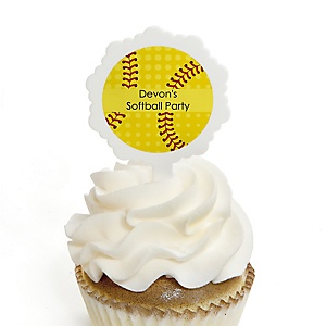 Grand Slam - Fastpitch Softball - Cupcake Picks with Personalized Stickers - Baby Shower or Birthday Party Cupcake Toppers - 12 ct
