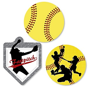 Grand Slam - Fastpitch Softball - DIY Shaped Baby Shower or Birthday Party Cut-Outs - 24 ct