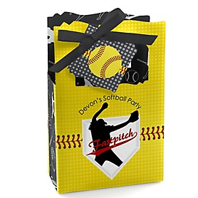 Grand Slam - Fastpitch Softball - Personalized Baby Shower or Birthday Party Favor Boxes - Set of 12