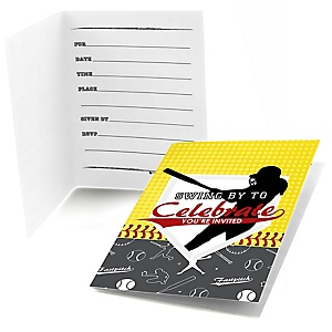 Grand Slam - Fastpitch Softball - Fill In Baby Shower or Birthday Party Invitations - 8 ct