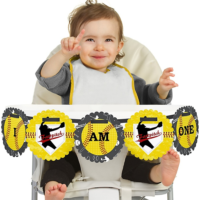 Grand Slam - Fastpitch Softball 1st Birthday - I am One -  First Birthday High Chair Birthday Banner