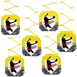 Grand Slam - Fastpitch Softball - Baby Shower or Birthday Party Hanging Decorations - 6 ct