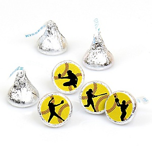 Grand Slam - Fastpitch Softball - Baby Shower or Birthday Party Round Candy Sticker Favors - Labels Fit Hershey's Kisses  - 108 ct
