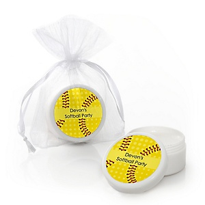 Grand Slam - Fastpitch Softball - Personalized Baby Shower or Birthday Party Lip Balm Favors - Set of 12