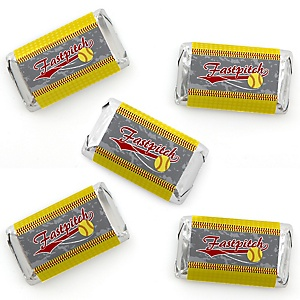 Grand Slam - Fastpitch Softball - Mini Candy Bar Wrapper Stickers - Birthday Party or Baby Shower Small Favors - 40 Count