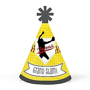 Grand Slam - Fastpitch Softball - Personalized Mini Cone Baby Shower or Birthday Party Hats - Small Little Party Hats - Set of 10