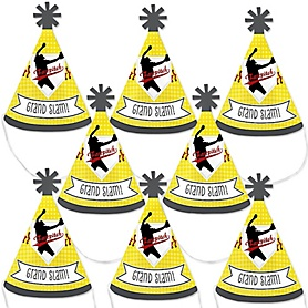 Grand Slam - Fastpitch Softball - Mini Cone Baby Shower or Birthday Party Hats - Small Little Party Hats - Set of 8