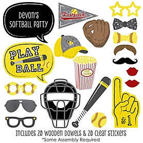 Grand Slam - Fastpitch Softball - 20 Piece Baby Shower or Birthday Party Photo Booth Props Kit