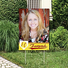 Grand Slam - Fastpitch Softball - Photo Yard Sign - Birthday Party or Baby Shower Decorations