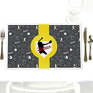 Grand Slam - Fastpitch Softball - Party Table Decorations - Baby Shower or Birthday Party Placemats - Set of 12