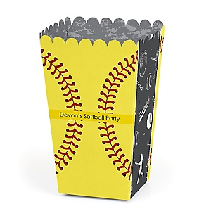 Grand Slam - Fastpitch Softball - Personalized Baby Shower or Birthday Party Popcorn Favor Treat Boxes - Set of 12