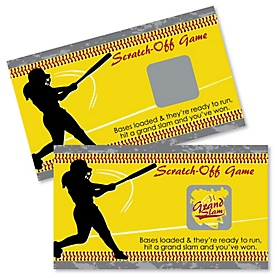 Grand Slam - Fastpitch Softball - Baby Shower or Birthday Party Scratch Off Cards - 22 Cards