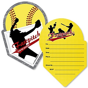 Grand Slam - Fastpitch Softball - Shaped Fill-In Invitations - Baby Shower or Birthday Party Invitation Cards with Envelopes - Set of 12