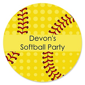 Grand Slam - Fastpitch Softball - Personalized Baby Shower or Birthday Party Sticker Labels - 24 ct