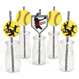 Grand Slam - Fastpitch Softball - Paper Straw Decor - Baby Shower or Birthday Party Striped Decorative Straws - Set of 24