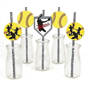 Grand Slam - Fastpitch Softball - Paper Straw Decor - Baby Shower or Birthday Party Striped Decorative Straws - Set of 24