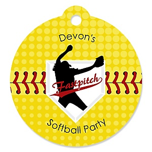 Grand Slam - Fastpitch Softball - Personalized Baby Shower or Birthday Party Favor Gift Tags - 20 ct
