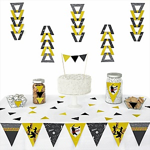 Grand Slam - Fastpitch Softball -  Triangle Baby Shower or Birthday Party Decoration Kit - 72 Piece