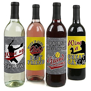 Grand Slam - Fastpitch Softball – Wine Bottle Gift Labels - Summer Softball League Party Decorations for Women and Men - Wine Bottle Label Stickers - Set of 4