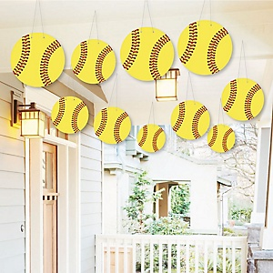 Hanging Grand Slam - Fastpitch Softball - Outdoor Baby Shower or Birthday Party Hanging Porch & Tree Yard Decorations - 10 Pieces