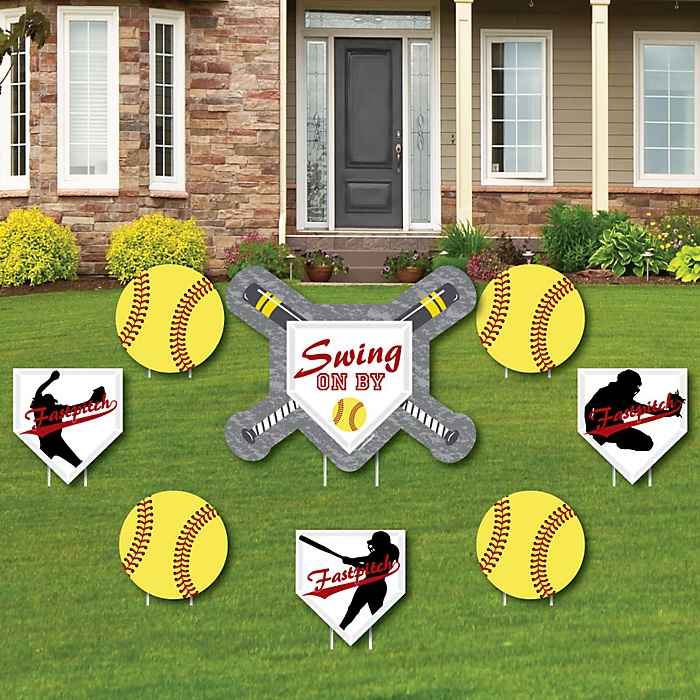 Grand Slam - Fastpitch Softball - Yard Sign & Outdoor Lawn Decorations - Baby Shower or Birthday Party Yard Signs - Set of 8