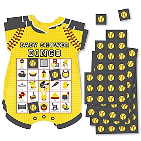 Grand Slam - Fastpitch Softball - Picture Bingo Cards and Markers - Baby Shower Shaped Bingo Game - Set of 18