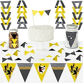 Grand Slam - Fastpitch Softball - DIY  Pennant Banner Decorations - Birthday Party or Baby Shower Triangle Kit - 99 Pieces