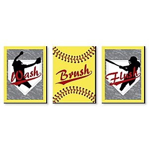 "Grand Slam - Fastpitch Softball - Kids Bathroom Rules Wall Art - 7.5"" x 10"" - Set of 3 Signs - Wash, Brush, Flush"