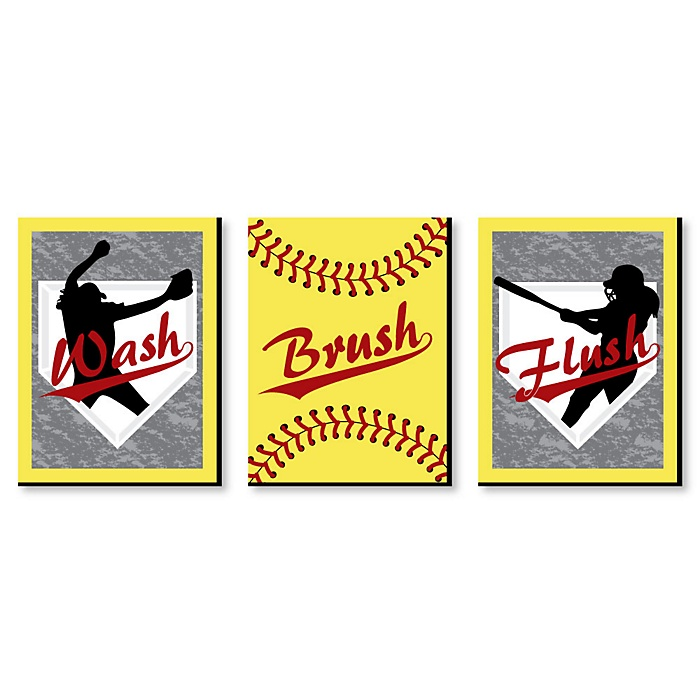 Grand Slam - Fastpitch Softball - Kids Bathroom Rules Wall Art - 7.5 x 10 inches - Set of 3 Signs - Wash, Brush, Flush