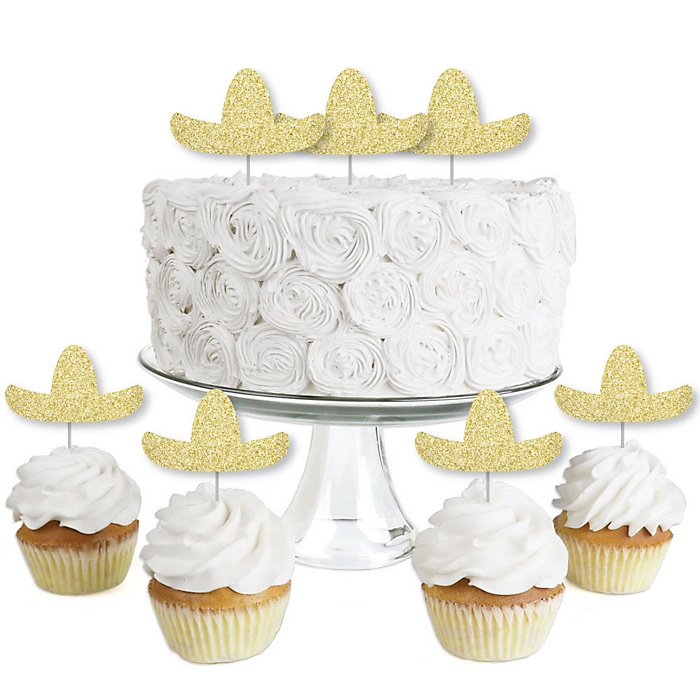 Gold Glitter Sombrero - No-Mess Real Gold Glitter Dessert Cupcake Toppers - Mexican Fiesta Party Clear Treat Picks - Set of 24