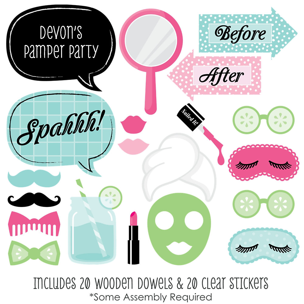 Spa Day 20 Piece Spa Party Photo Booth Props Kit