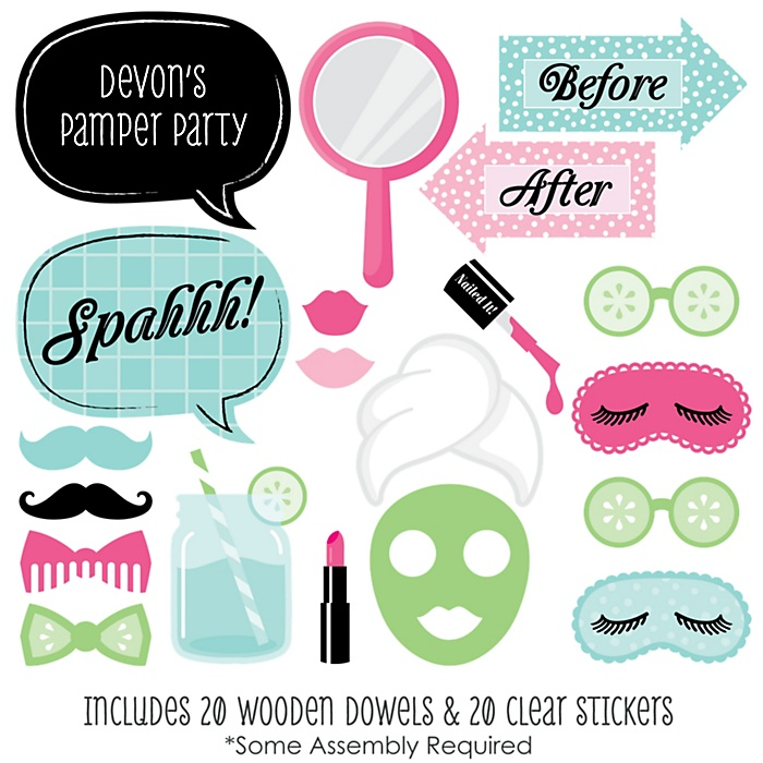 Spa Day - 20 Piece Spa Party Photo Booth Props Kit