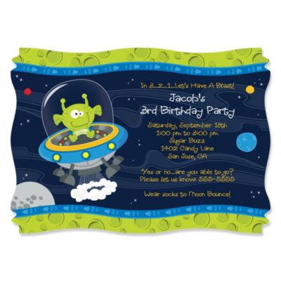 Space Alien Personalized Birthday Party Invitations