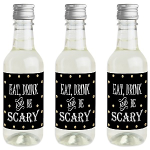 Spooktacular - Mini Wine and Champagne Bottle Label Stickers - Eat, Drink and Be Scary Halloween Party Favor Gift - For Women and Men - Set of 16