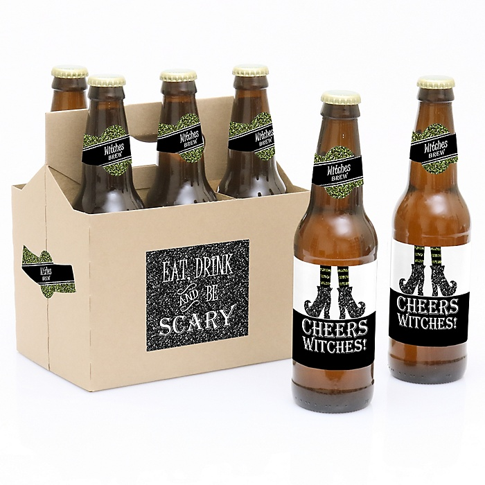 Spooktacular - Eat, Drink and Be Scary - Decorations for Women and Men - 6 Witch Brew Halloween Party Beer Bottle Labels and 1 Carrier